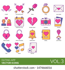 Dating app icons including cupid, love with arrow, rose, ring, letter, romantic, valentines day, broken heart, camera, photos, locked, unlocked, notification, notes, place, call, music, games.