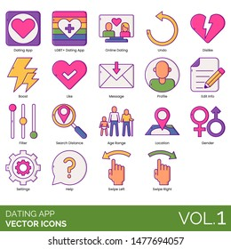 Dating app icons including LGBT+, online, undo, dislike, boost, message, profile, edit info, filter, search distance, age range, location, gender, settings, help, swipe left, right.