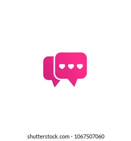 Dating app, love chat logo, vector icon on white