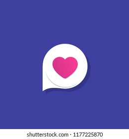 Dating app, love chat vector icon, logo