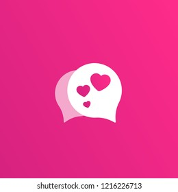 Dating app, love chat vector logo for apps and web