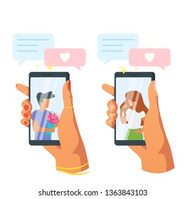 Dating app and relationship concept. Hands holding smartphone. Faceless characters in phone screen. Love messages application. Vector illustration isolated on white background.