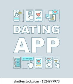 Dating app word concepts banner. Find love mobile application. Couple matchmaking. Online date. Presentation, website. Isolated lettering typography idea with linear icons. Vector outline illustration