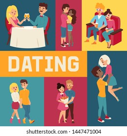 Dating banner vector illustration. People sitting in restaurant and drinking champagne. Cople in 3d glasses in cinema. Watching films. Man presenting bunch of flowers to woman.