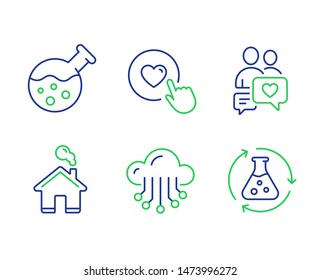 Dating chat, Like button and Home line icons set. Chemistry lab, Cloud storage and Chemistry experiment signs. People love, Press love, House building. Laboratory. Technology set. Vector