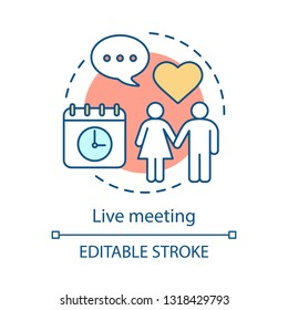 Dating concept icon. Romantic appointment idea thin line illustration. Man and woman holding hands. In love couple. Live meeting, matchmaking, date. Vector isolated outline drawing. Editable stroke