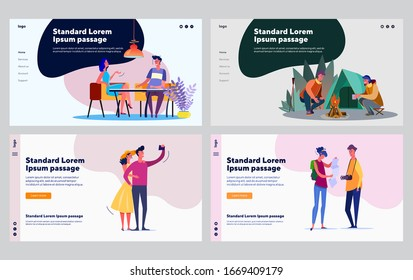 Dating couple set. Young man and woman camping, meeting in cafe, walking tourists. Flat vector illustrations. Activity, relationship, leisure concept for banner, website design or landing web page