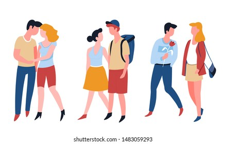 Dating couples relationship and marriage romantic date love story vector man and woman walking and holding hands boyfriend, and girlfriend guy presenting flower and boy with backpack youth and romance