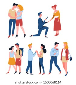 Dating couples, relationship and marriage, romantic date, love story vector. Man and woman in park walking, proposal and engagement. Hug and holding hands boyfriend and girlfriend, proposal and ring