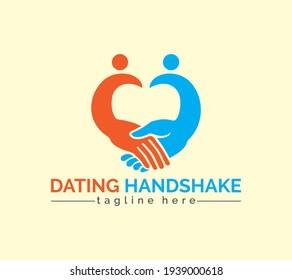 Dating hand shake logo of love, romantic, valentines day, partnership, heart, hand shake, dating and company logo.