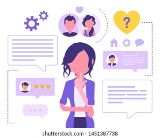 Dating service for female user. Woman using social website or matchmaking application, seeking romantic companion, partner, meet boyfriend online. Vector abstract illustration with faceless character