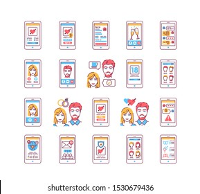 Dating web site in smartphone screen color line icons set. Virtual dating. Online love search service. Signs for web page, mobile app. UI/UX/GUI template. User interface display.