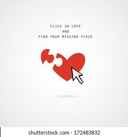 dating website ; heart with missing piece with computer arrow