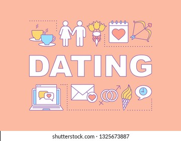 Dating word concepts banner. Fall in love. Couple matchmaking. Go on date. Internet flirt. Presentation, website. Isolated lettering typography idea with linear icons. Vector outline illustration
