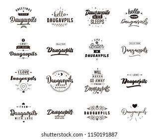 Daugavpils. Greeting cards, vector design. Isolated logos. Typography set.
