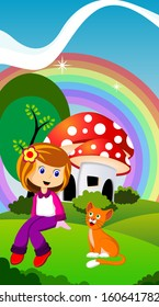 daughter and a cat in front of a mushroom house