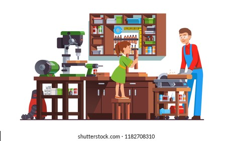 Daughter girl kid helping father carpenter men doing woodwork in workshop with table wood drilling machine, grinding wheel, work bench, circular saw, drill & tools. Flat vector interior illustration