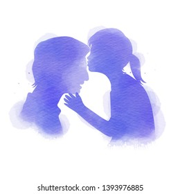 Daughter kissing her father silhouette plus abstract watercolor painted. Happy father's day. Digital art painting. Vector illustration