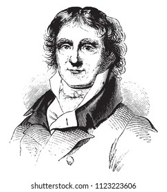 Daunou, after a portrait of fact in his youth, vintage engraved illustration. Magasin Pittoresque 1841.