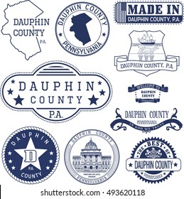 Dauphin county, Pennsylvania. Set of generic stamps and signs.