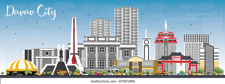 Davao City Philippines Skyline with Gray Buildings and Blue Sky. Vector Illustration. Business Travel and Tourism Illustration with Modern Architecture.