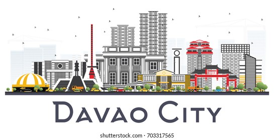 Davao City Philippines Skyline with Gray Buildings Isolated on White Background. Vector Illustration. Business Travel and Tourism Illustration with Modern Architecture.