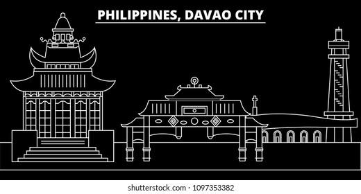 Davao City silhouette skyline. Philippines - Davao City vector city, filipino linear architecture. Davao City travel illustration, outline landmarks. Philippines flat icon, filipino line banner