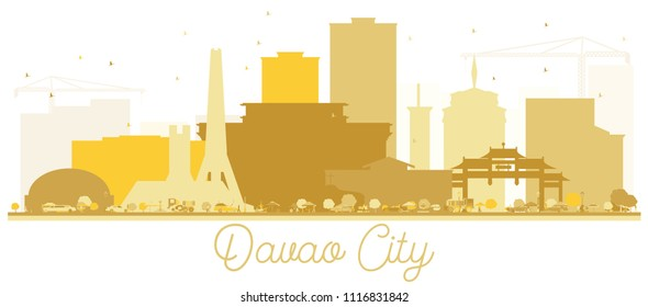 Davao City skyline Golden silhouette. Vector illustration. Simple flat concept for tourism presentation, banner, placard or web site. Business travel concept. Davao Cityscape with landmarks.