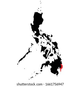 Davao Oriental Province highlighted on Philippines map Vector EPS 10
