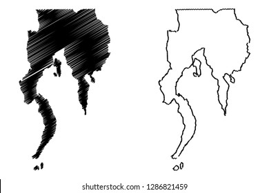 Davao Region (Regions and provinces of the Philippines, Republic of the Philippines) map vector illustration, scribble sketch Southern Mindanao (Region XI) map