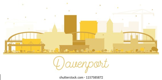 Davenport City skyline Golden silhouette. Vector illustration. Simple flat concept for tourism presentation, banner, placard or web site. Business travel concept. Davenport Cityscape with landmarks.