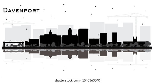 Davenport Iowa City Skyline Silhouette with Black Buildings and Reflections Isolated on White. Vector Illustration. Business Travel and Tourism Concept. Davenport City Cityscape with Landmarks.