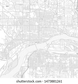 Davenport, Iowa, USA, bright outlined vector map with bigger and minor roads and steets created for infographic backgrounds.