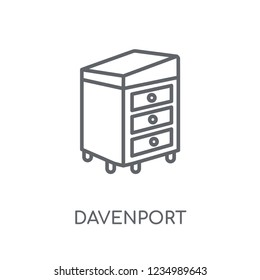 Davenport linear icon. Modern outline Davenport logo concept on white background from Furniture and Household collection. Suitable for use on web apps, mobile apps and print media.