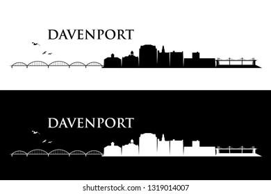 Davenport skyline - Iowa, United States of America, USA - vector illustration