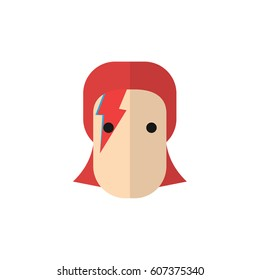 David Bowie in flat vector illustration