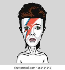 David Bowie Pop Art Vector Portrait Illustration. January 14, 2017