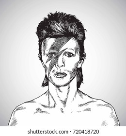 David Bowie Portrait Drawing Vector. September 23, 2017