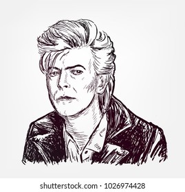 david bowie vector illustration sketch style