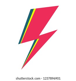 David Bowie Ziggy Stardust pink flash. Hand drawn vector illustration of isolated lightning for logo, poster, postcard, clothing print, flyer. Retro sign isolated pink thunderbolt on white background.