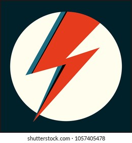 David Bowie Ziggy Stardust red flash. Hand drawn vector illustration with lightning in circle for logo, poster, postcard, clothing print, flyer. Retro sign isolated red thunderbolt on light background