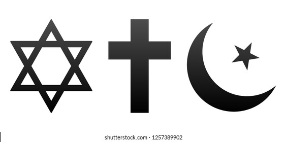 David and Christian Cross, Half Moon Muslim Icons