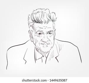 David Lynch vector sketch portrait face famous