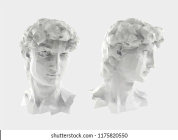 David Sculpture Head Vector 3D Rendering