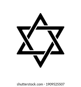 David star black glyph icon. Judaism symbol. Central symbol on Israeli flag. Magen David. Six-pointed geometric star. Hexagram figure. Silhouette symbol on white space. Vector isolated illustration