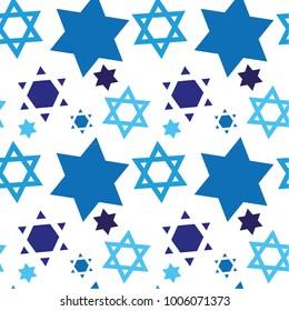 David Star blue seamless pattern, Bar mitzvah Jewish Invitation pattern background