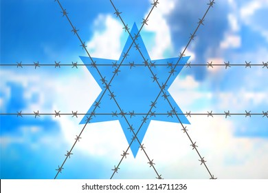 David star at blue sky - Orthodox sign as the interweaving of barbed wire. Concept for anti-Semitism, jewish memory day.