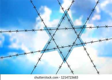 David star at blue sky - Orthodox sign as the interweaving of barbed wire. Concept for anti-Semitism, jewish memory day.Six-pointed Star of barbed wire symbol of the suffering of the Jewish people