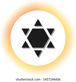 David Star Inverse. Symbol of Israel inverted. Dark icon with shadow on the glowing circle button