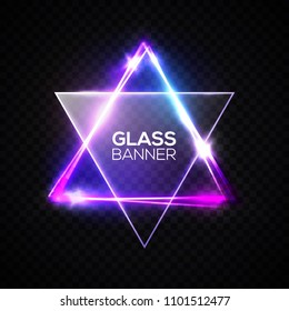 David star. Neon sign. Triangle banner with transparent glass plate. Judaism flag. Hebrew Israel glow symbol art. Electric abstract frame on transparent backdrop Religious light vector illustration.